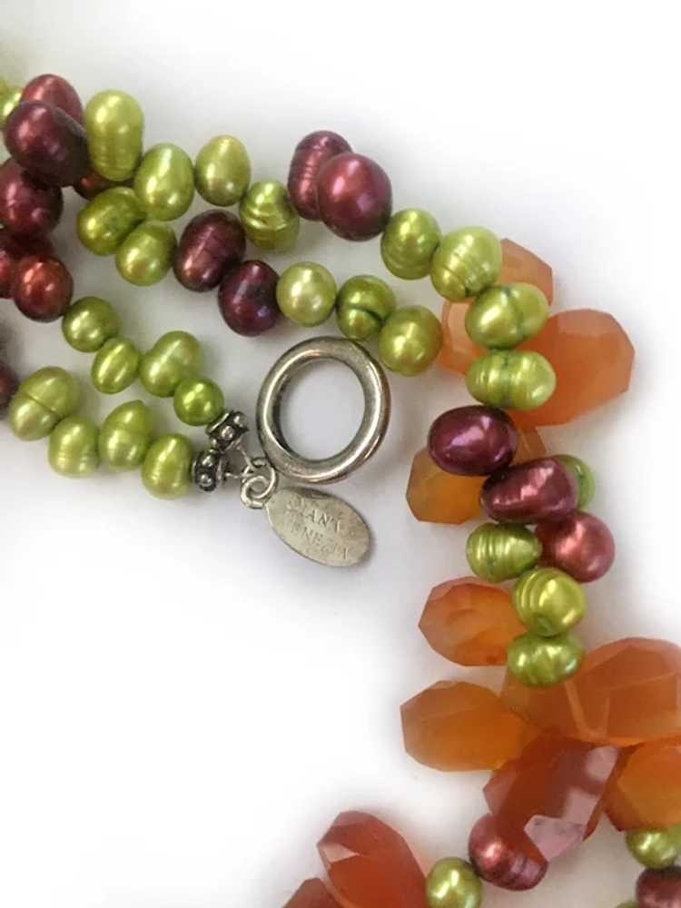 Colorful Freshwater Pearls, Carnelian and Sterlin… - image 6