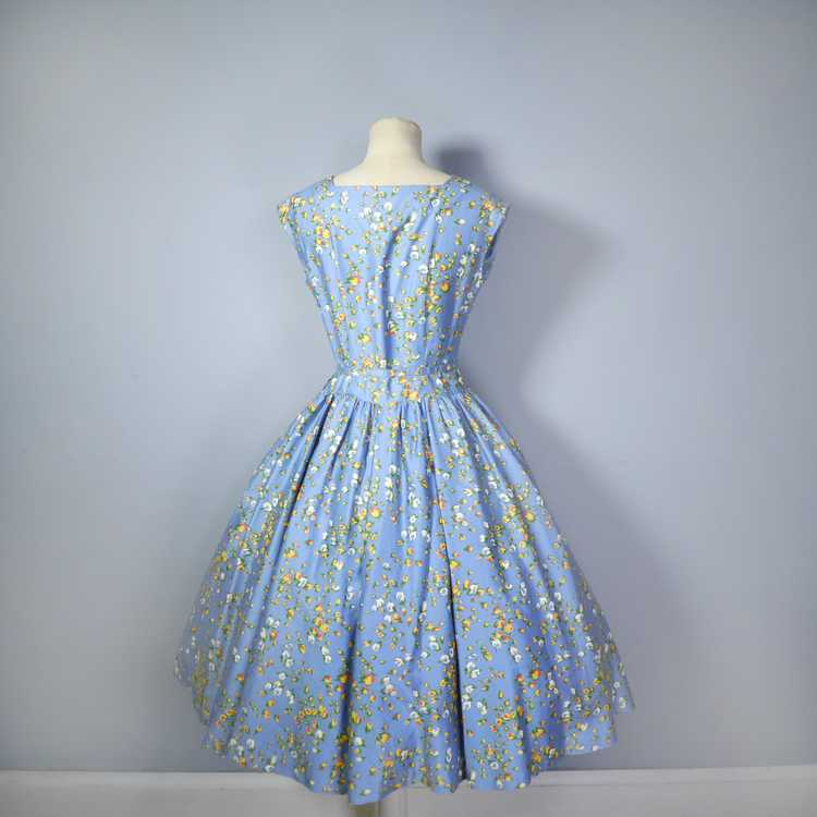 50s BLUE FULL SKIRTED DRESS BY RODNEY IN RED AND … - image 13