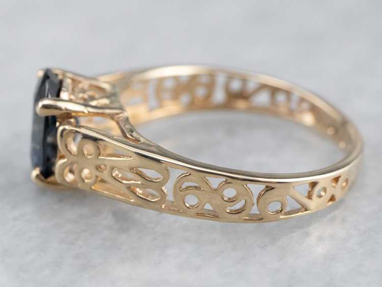 Sapphire Gold Filigree Solitaire Ring - image 4
