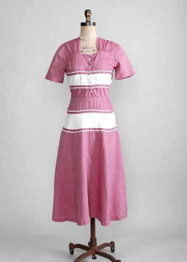 Vintage Late 1940s Raspberry Cream Cotton Day Dres