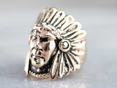 Native American Chief Gold Statement Ring