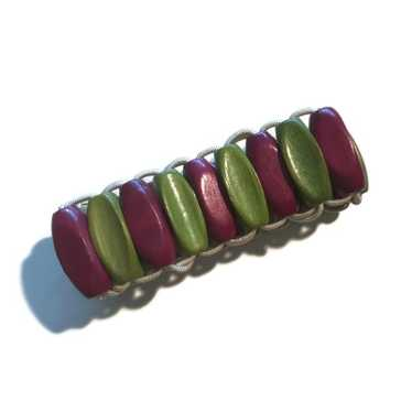 Czech Wooden Beads Chartreuse Green and Raspberry
