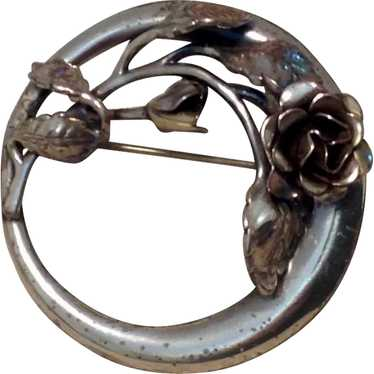 Danecraft Sterling Rose Brooch - image 1