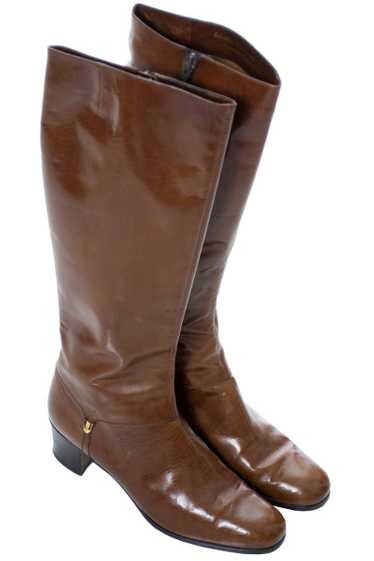 1970s Vintage Ferragamo Brown Leather Boots 8.5 AA