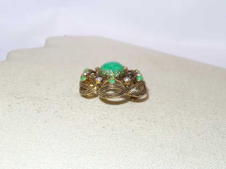 Vintage Faux Jade and Faux Pearl Brooch - image 3