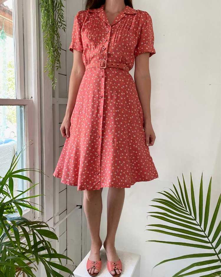 40s Floral Rayon Dress - image 3