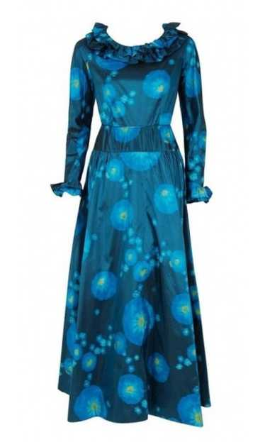 1966 Arnold Scaasi Couture Watercolor Blue Floral… - image 1