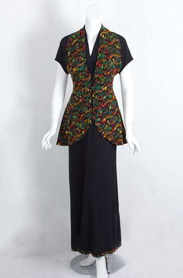 Embroidered rayon crepe evening ensemble, 1930s
