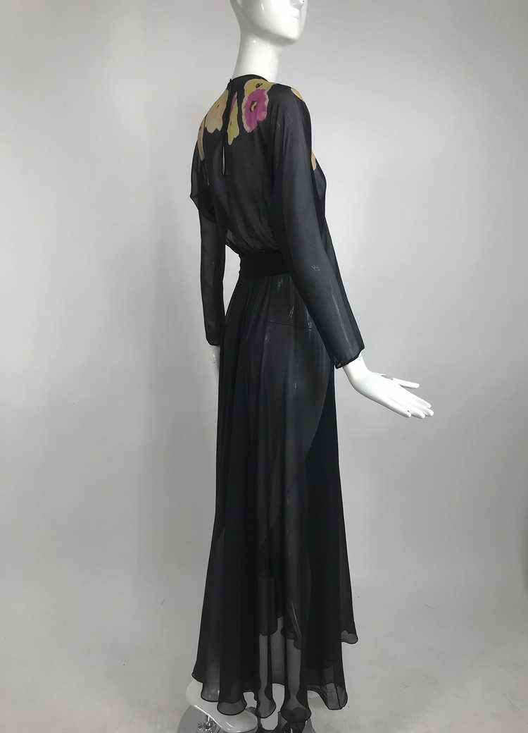 Vintage 1930s Floral Print Bias Cut Black Silk Ch… - image 8
