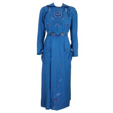 Vintage 1910s Teal Wool Embroidered Day Dress