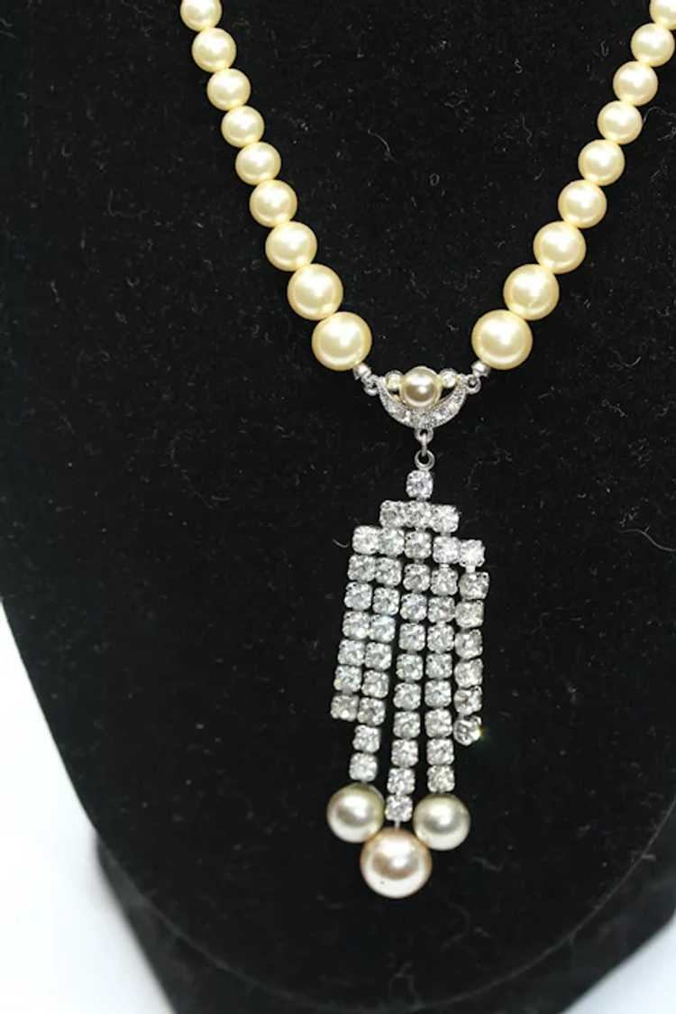 Marvella Faux Pearl and Rhinestone Necklace - image 3