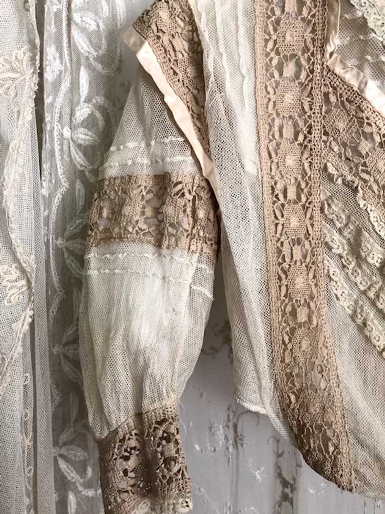 Antique 1890's Victorian Net Lace and Silk Bodice… - image 3