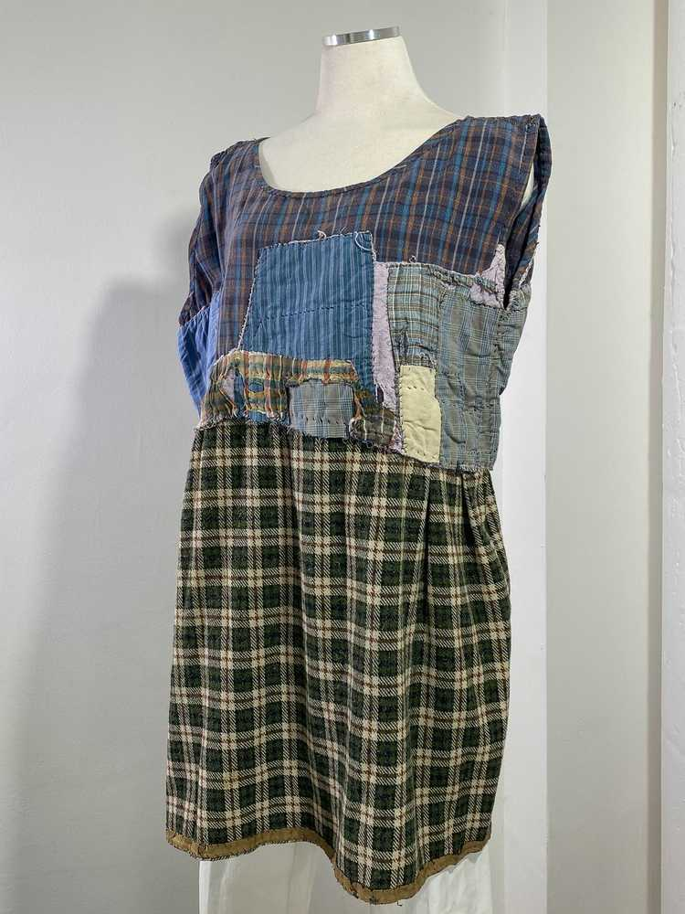 1960s-70s French Patchwork Peasant Dress - Lg. - image 1