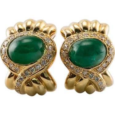 Diamond Emerald Earrings Vintage 18K Gold by Lilli
