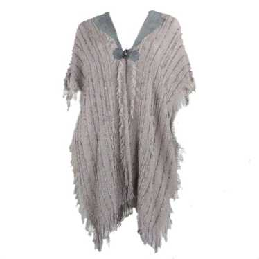 1980's Hector Gamarra Knit Poncho with Suede Detai