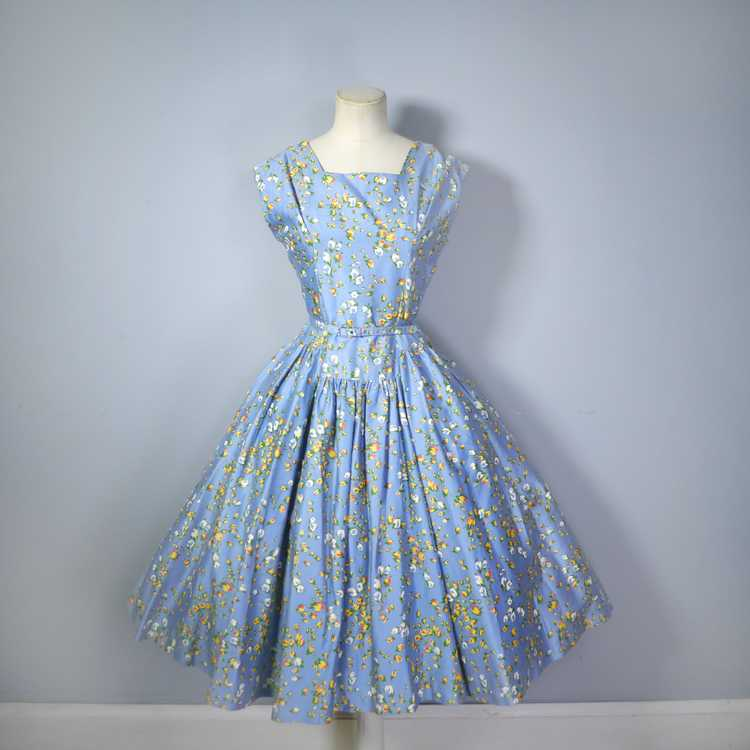 50s BLUE FULL SKIRTED DRESS BY RODNEY IN RED AND … - image 9