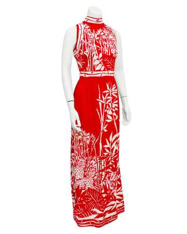 Paganne Red & White Bamboo Print Gown