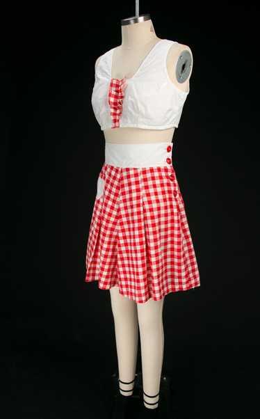 Vintage 1930's / 1940's Red & White Check Cotton P