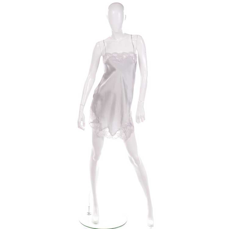 1970s Nordstrom Silver Grey Silk Chemise w/ Lace … - image 2