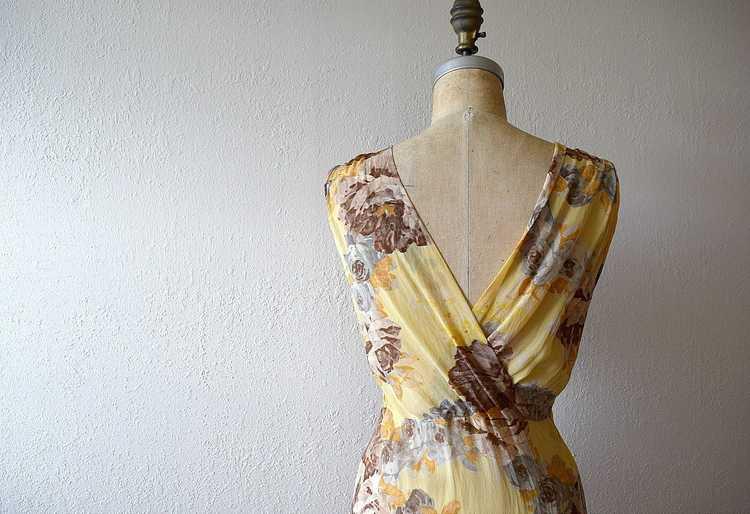 1930s floral chiffon dress . vintage 30s gown - image 5