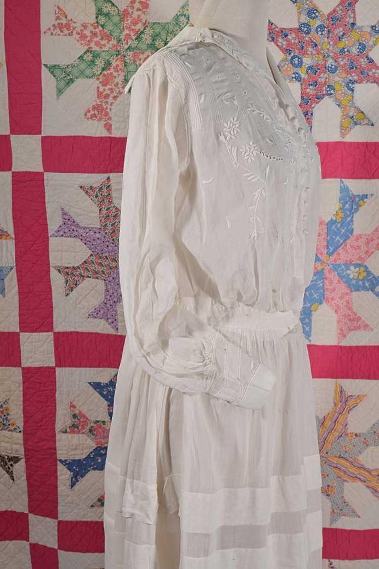 Antique Edwardian Lawn Dress, Embroidered Details - image 7