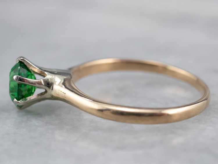 Tsavorite Garnet Gold Solitaire Ring - image 4