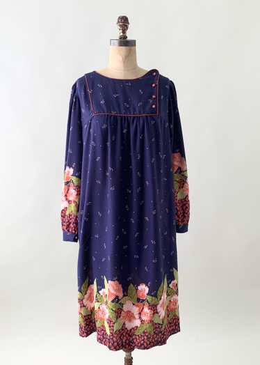 Vintage 1970s Rose Print Dress