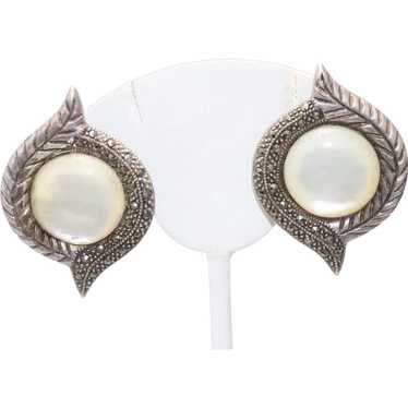 Sterling Silver Mother of Pearl Marcasite Clip On