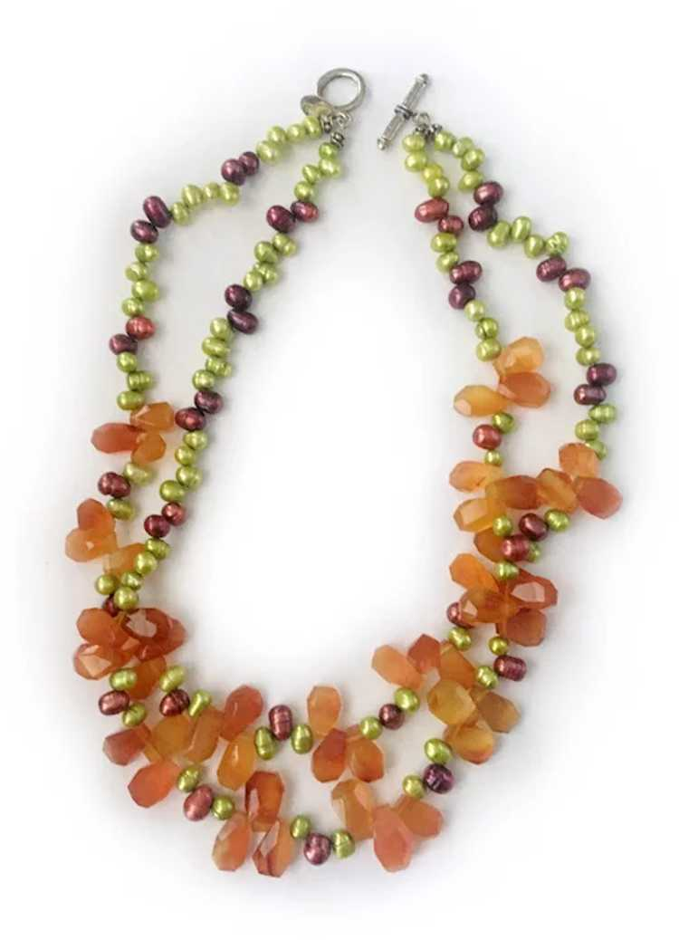Colorful Freshwater Pearls, Carnelian and Sterlin… - image 2