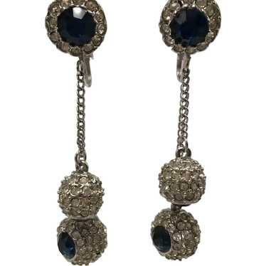 Faux Sapphire and Diamond-Look Dangling Ball Clip-