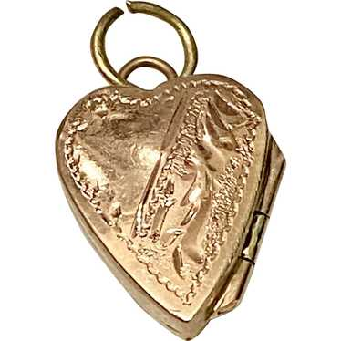 Heart Locket Vintage Charm, European 14K Gold circ