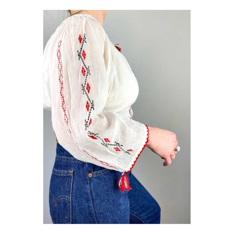 Hungarian Embroidered Vintage Blouse - image 4