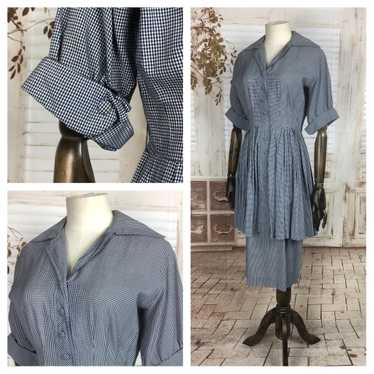 Original 1940s 40s Vintage Navy Blue And White Gin