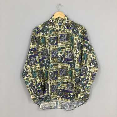 ARAMIS Cotton Shirt Abstract Medium Vintage 90s Multicolour Psychedelic Pop Art Oxfords Buttondown Flannel Size M