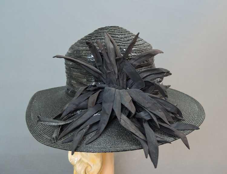 Vintage Wide Brim Hat, 1940s Straw & Shiny Vinyl,… - image 5