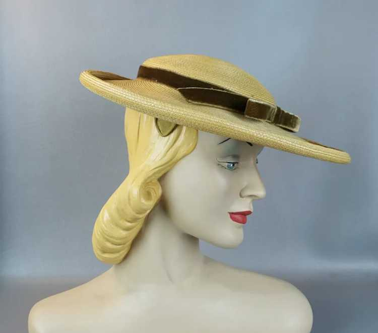 1950s Natural Straw Wide Brim Picture Hat - image 3
