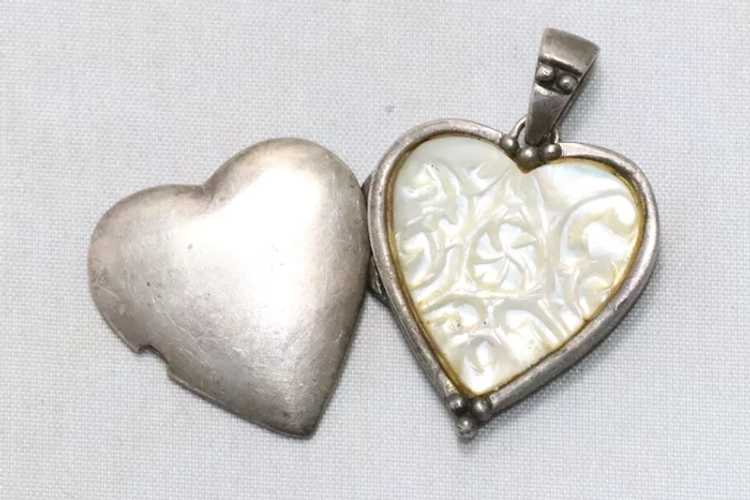 Vintage Sterling Silver Mother of Pearl Heart Loc… - image 2