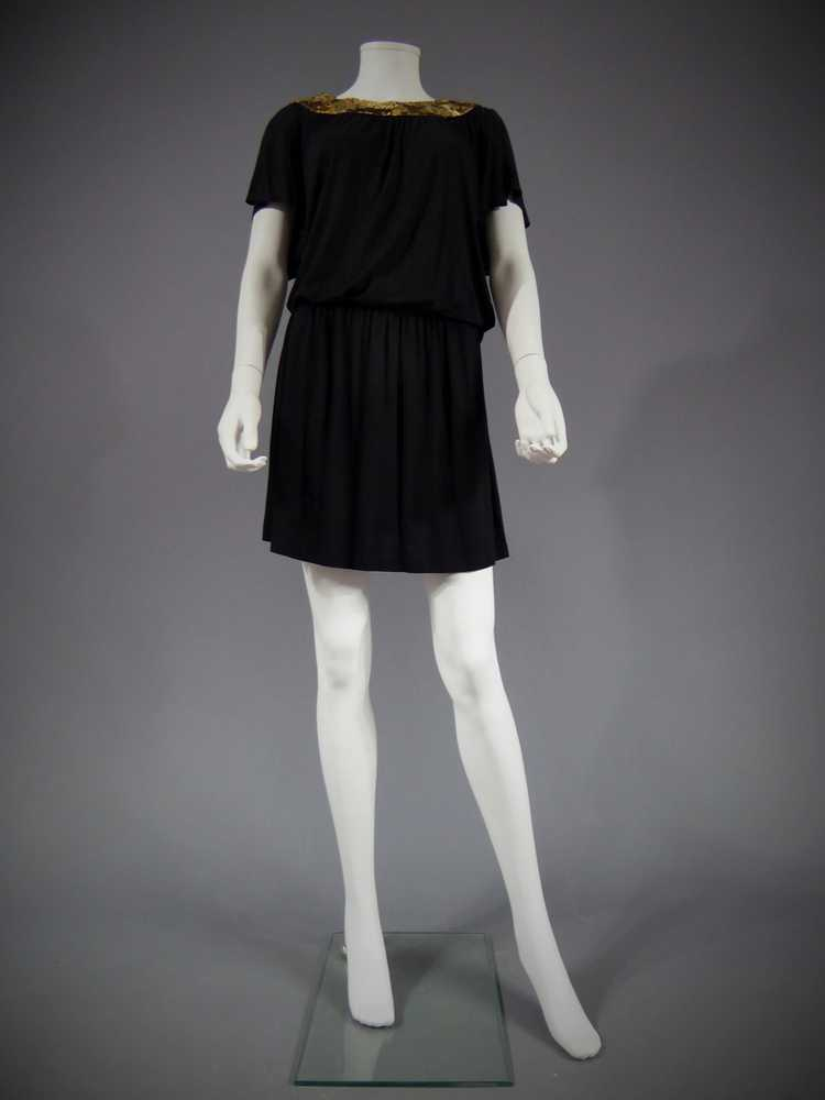 1940/'s by cubevintage small Biba dress Jet black beads viscose dress