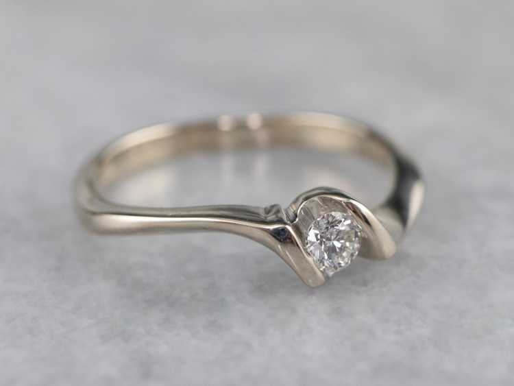 Diamond White Gold Solitaire Ring - image 2