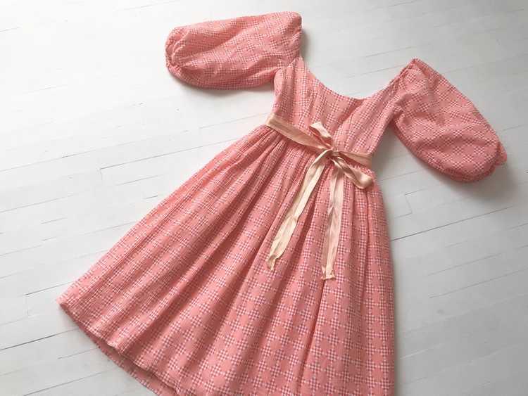 1980s Peach Diamond Print Dress with Balloon Slee… - image 2