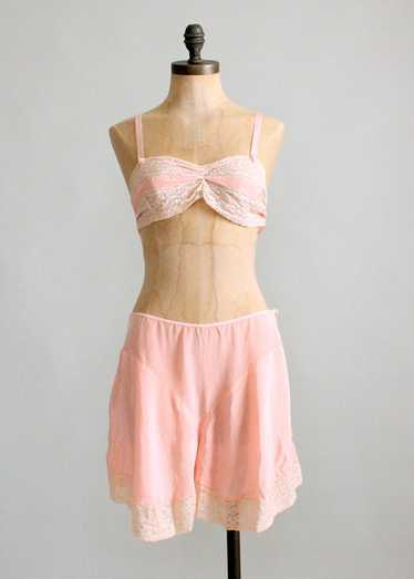 Vintage 1930s Pink Rayon and Lace Bra and Tap Pant