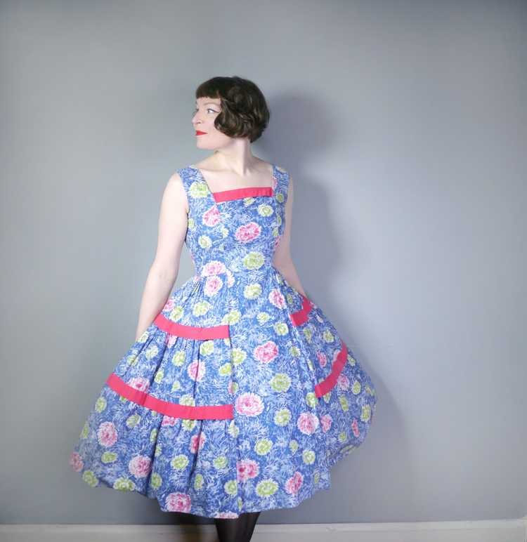 50s FEATHERY FLORAL BLUE COTTON DRESS WITH TIERED… - image 3