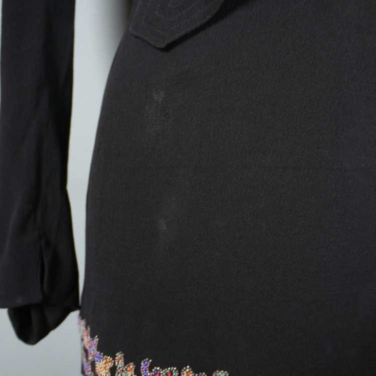 30s 40s BLACK CREPE EVENING DRESS WITH BEADED PEP… - image 12
