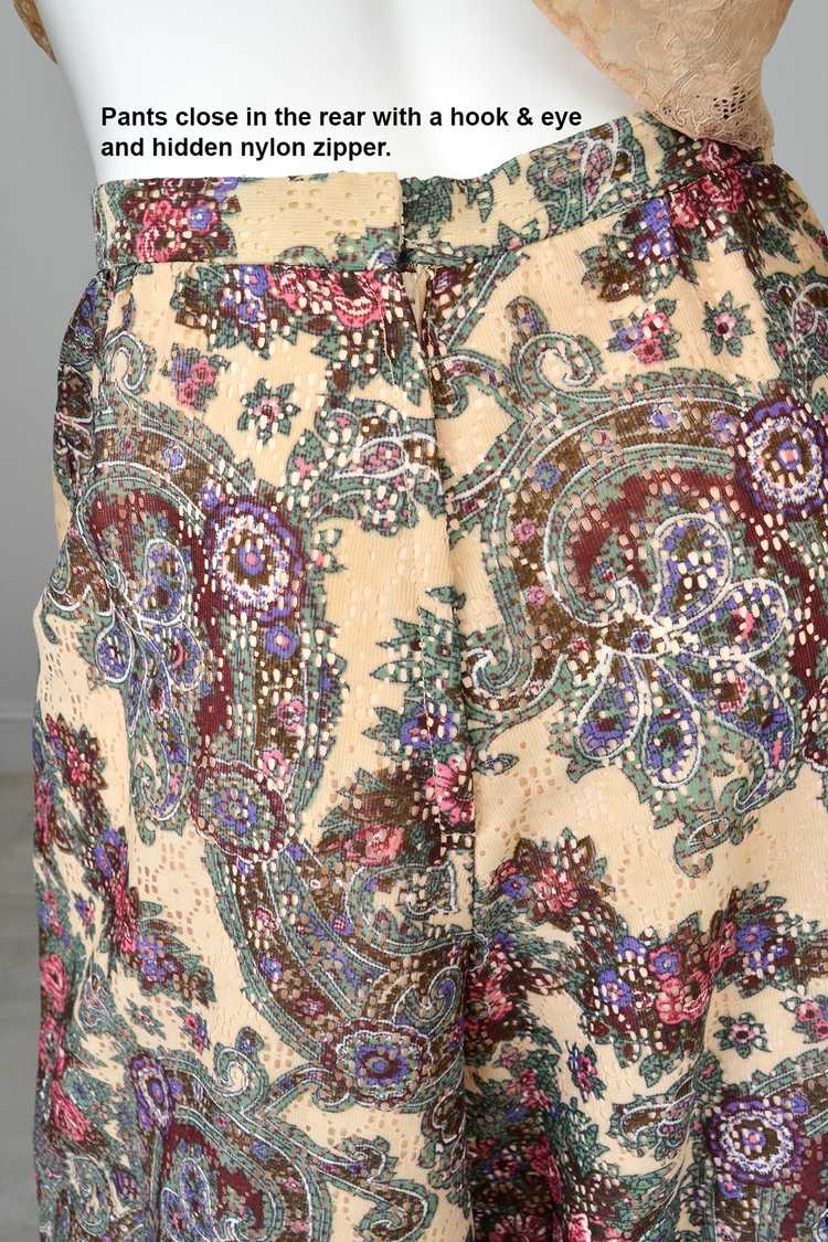 1970s Lacey Floral Print Palazzo Pants - image 7