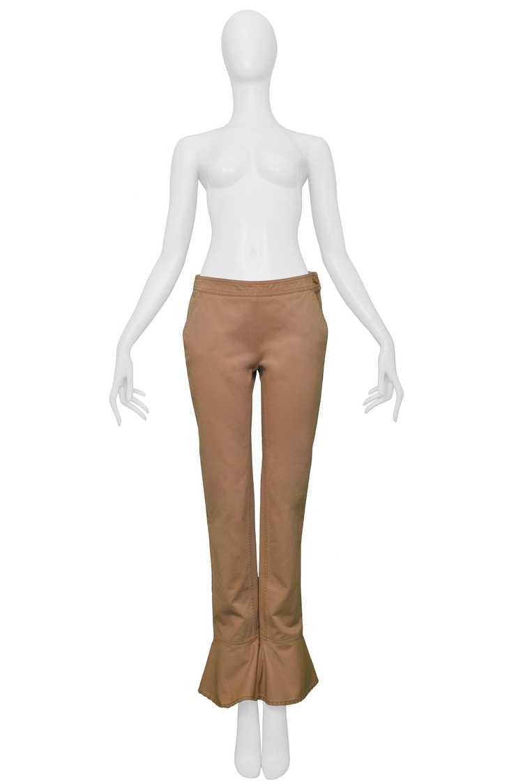 CHANEL KHAKI FLARED COTTON PANTS - image 1