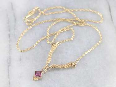 Pink Tourmaline Yellow Gold Necklace