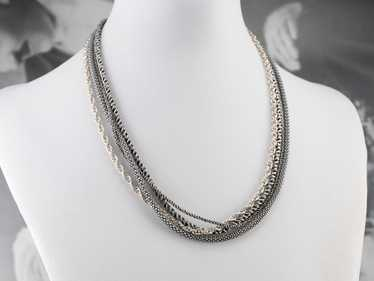 Sterling Silver Multi Strand Chain Necklace - image 1