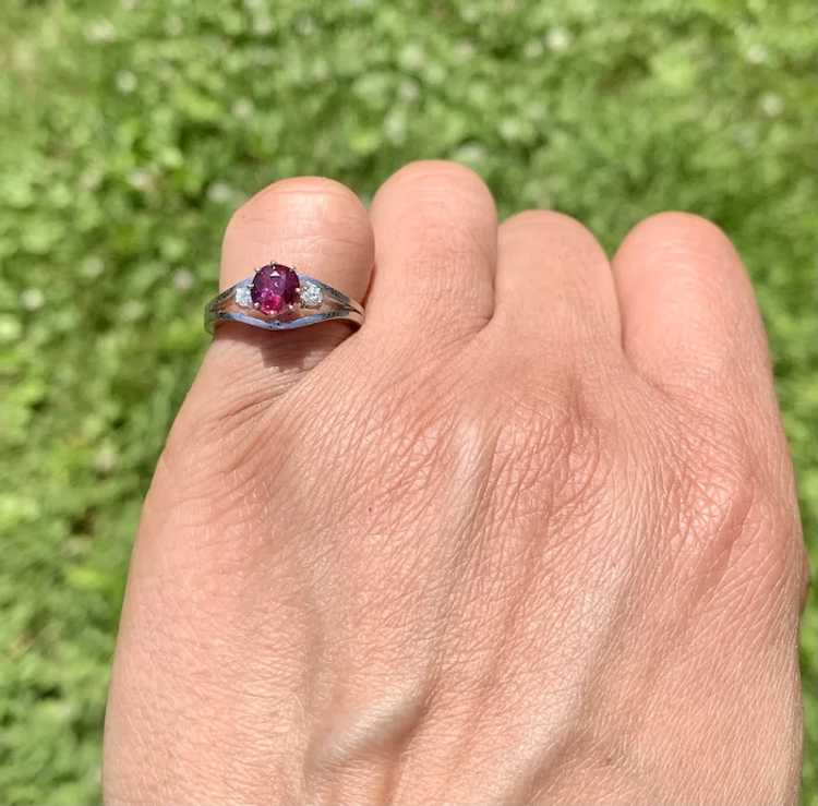 18k Gold Ruby Diamond Solitaire Ring - image 2