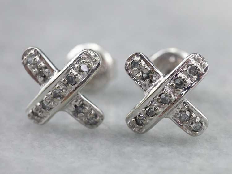 Diamond X Stud Earrings - image 4