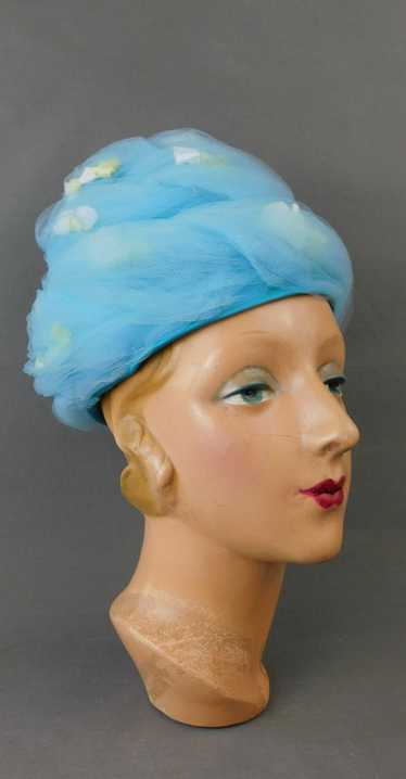 Vintage Blue Tulle Floral Hat, White & Yellow Flow